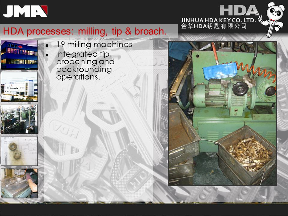 HDA processes: milling, tip & broach.
