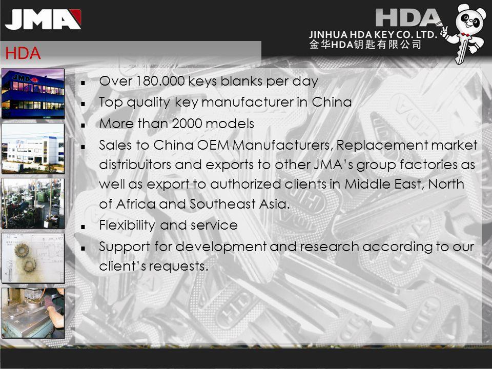 HDA Over 180.000 keys blanks per day