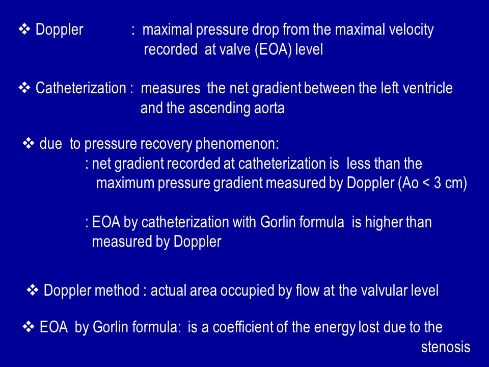 Doppler : maximal pressure drop from the maximal velocity