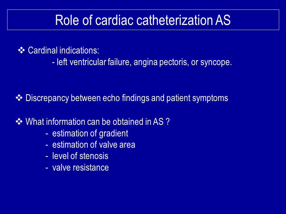 Role of cardiac catheterization AS