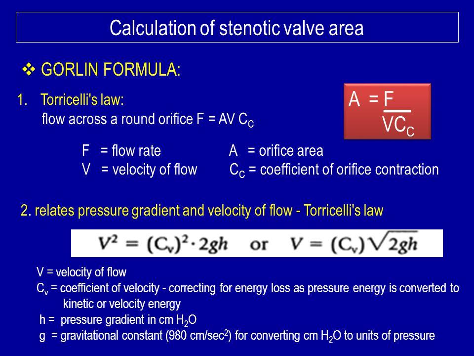 Calculation of stenotic valve area