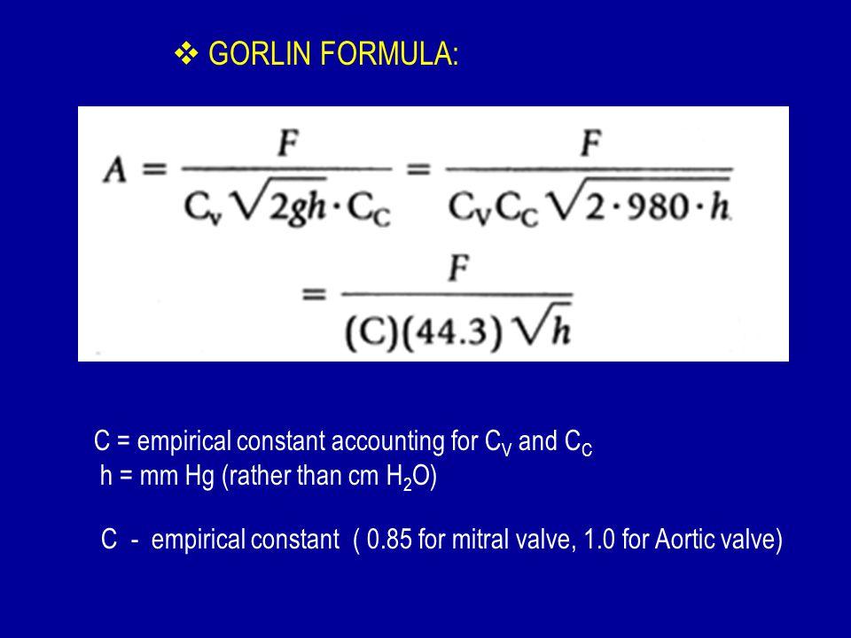 GORLIN FORMULA: C = empirical constant accounting for CV and CC