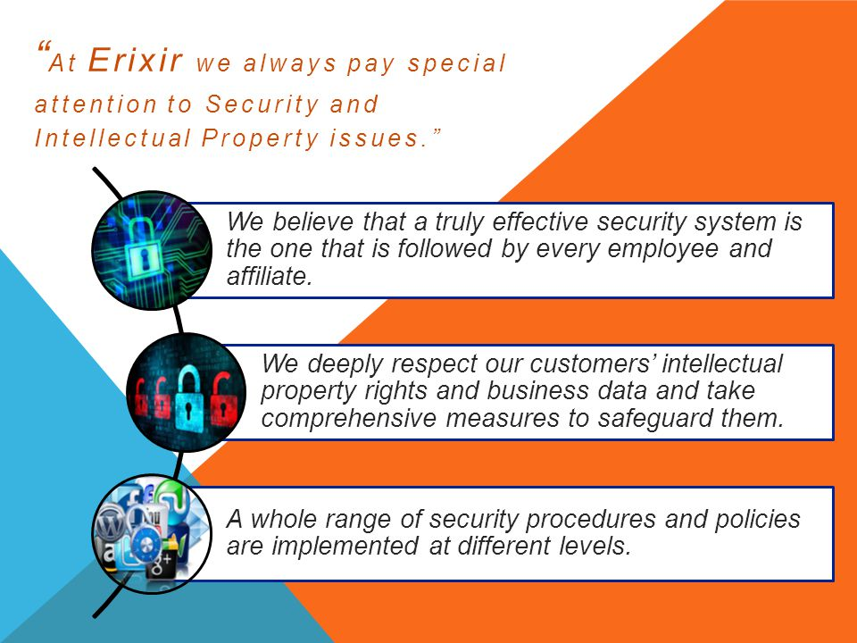 At Erixir we always pay special attention to Security and Intellectual Property issues.