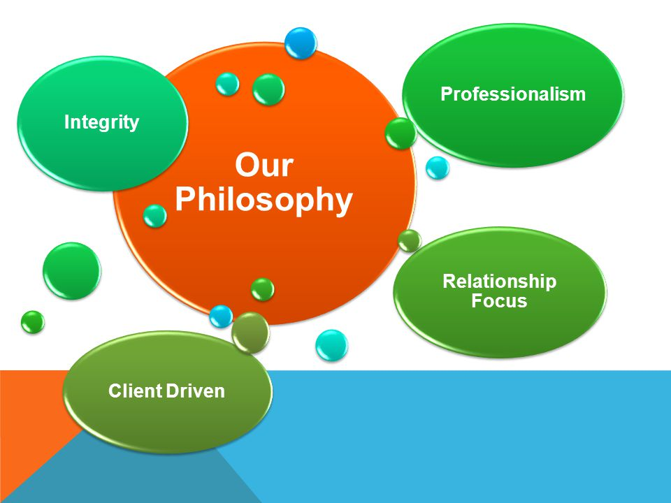 Our Philosophy Professionalism Integrity Relationship Focus