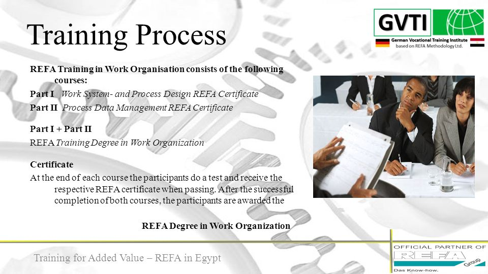 Training Process Training for Added Value – REFA in Egypt