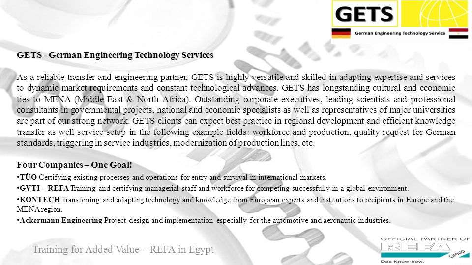 Training for Added Value – REFA in Egypt