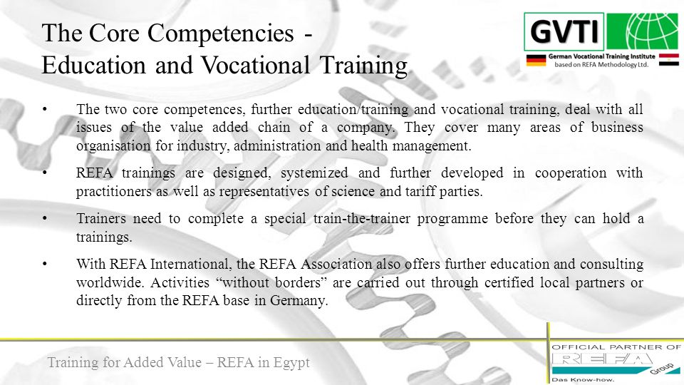 The Core Competencies - Education and Vocational Training
