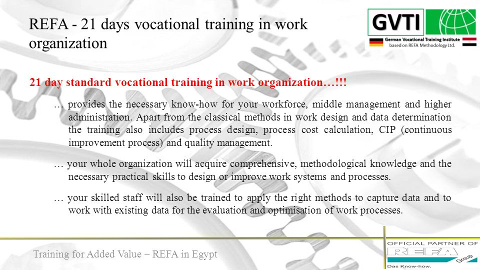 REFA - 21 days vocational training in work organization