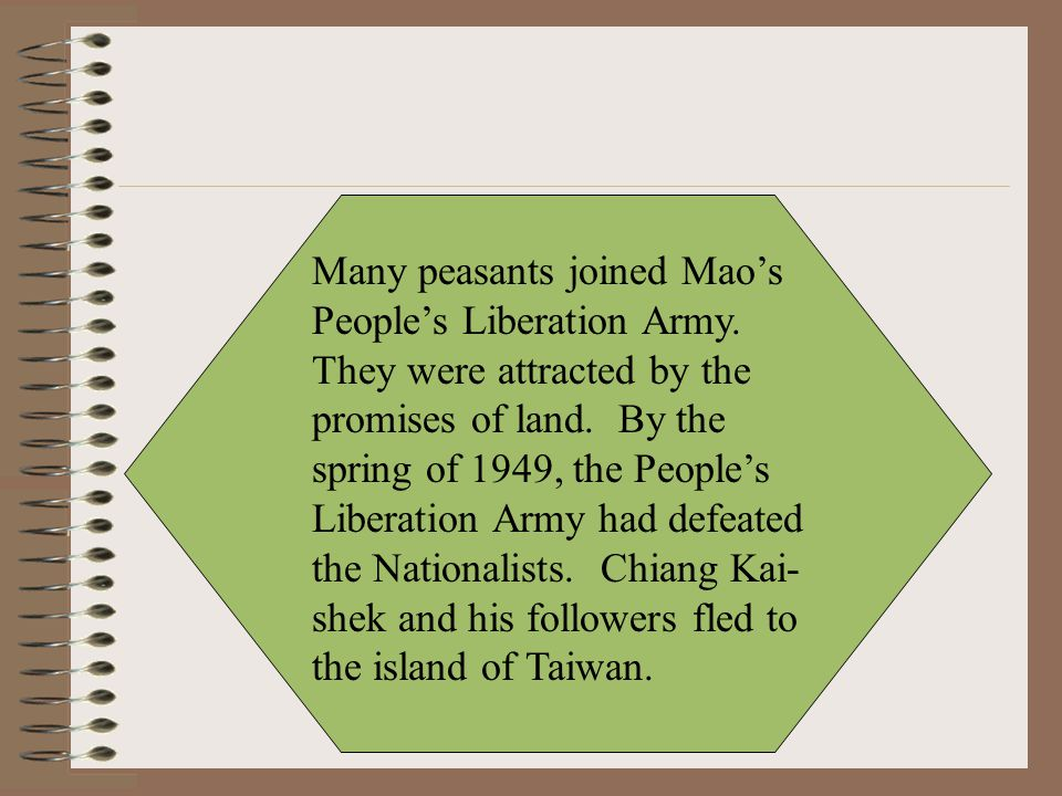 Many peasants joined Mao's People's Liberation Army