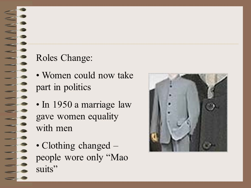 Roles Change: Women could now take part in politics. In 1950 a marriage law gave women equality with men.