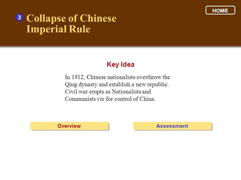 Collapse of Chinese Imperial Rule Key Idea 3