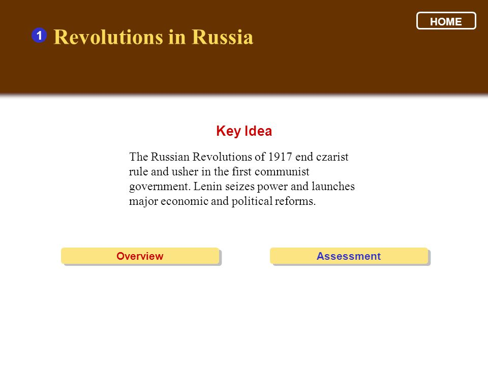 Revolutions in Russia Key Idea 1