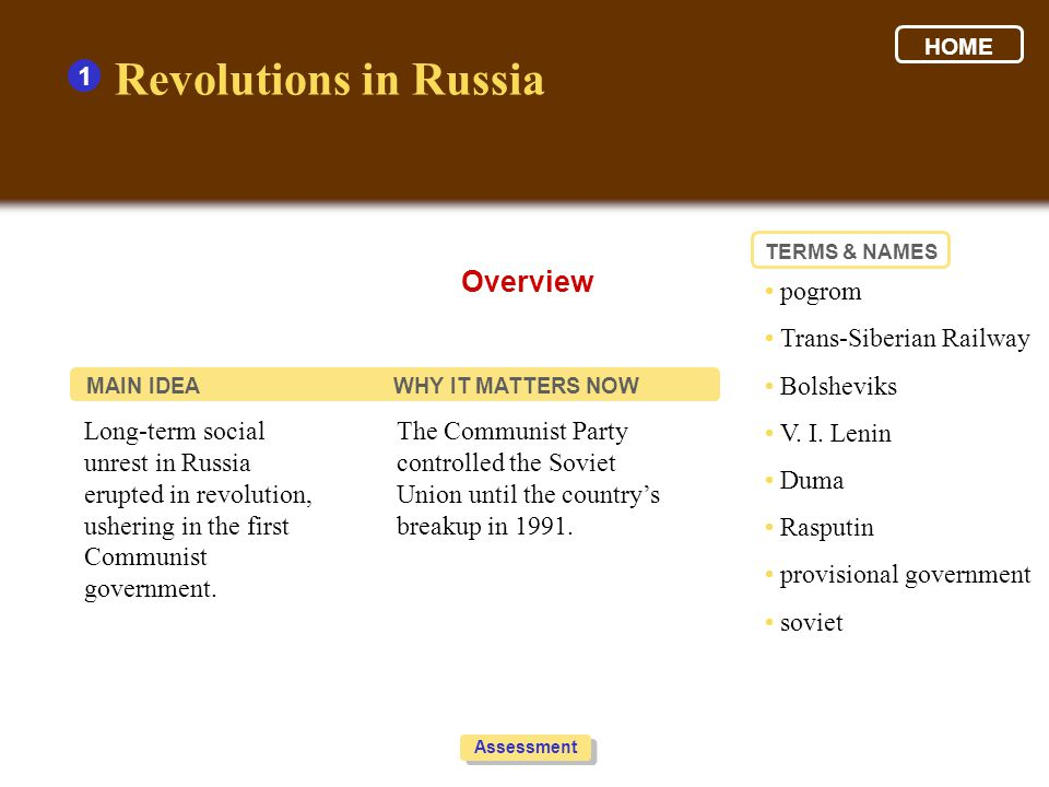 Revolutions in Russia Overview 1 • pogrom • Trans-Siberian Railway