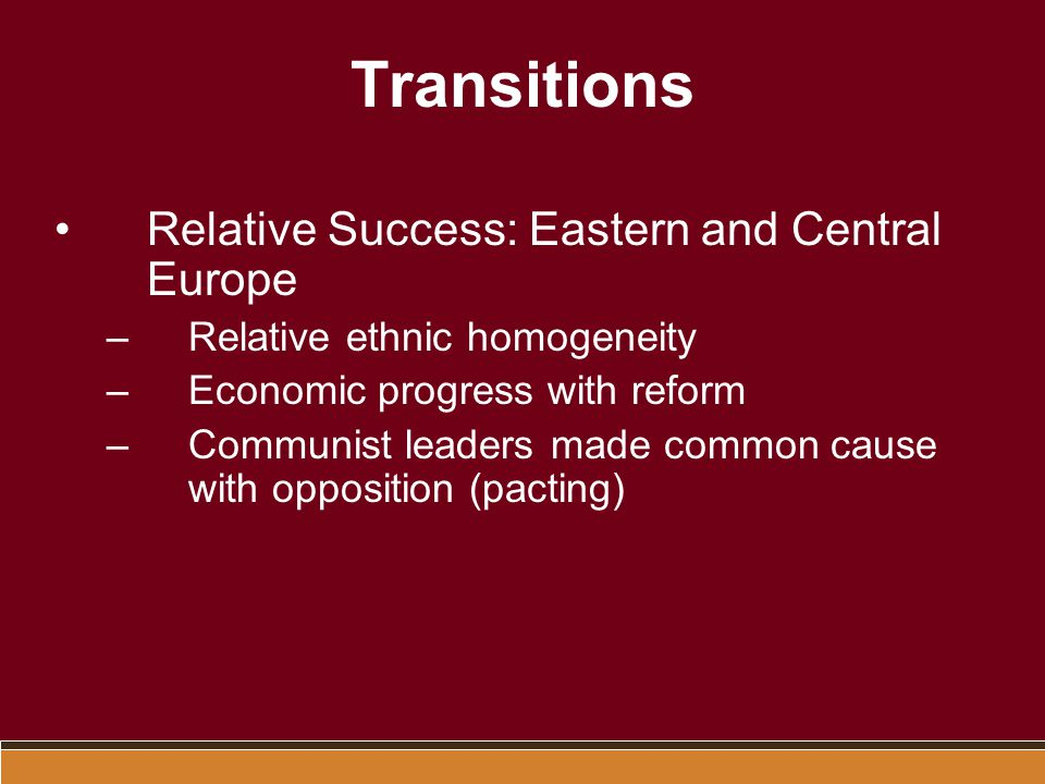 Transitions Relative Success: Eastern and Central Europe
