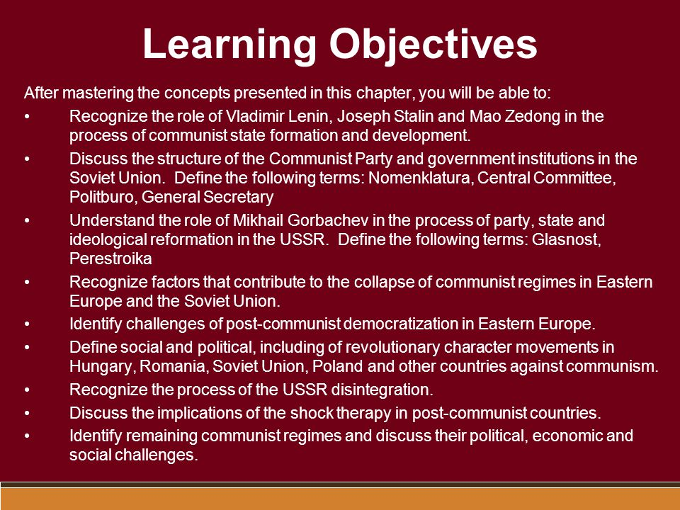 Learning Objectives After mastering the concepts presented in this chapter, you will be able to: