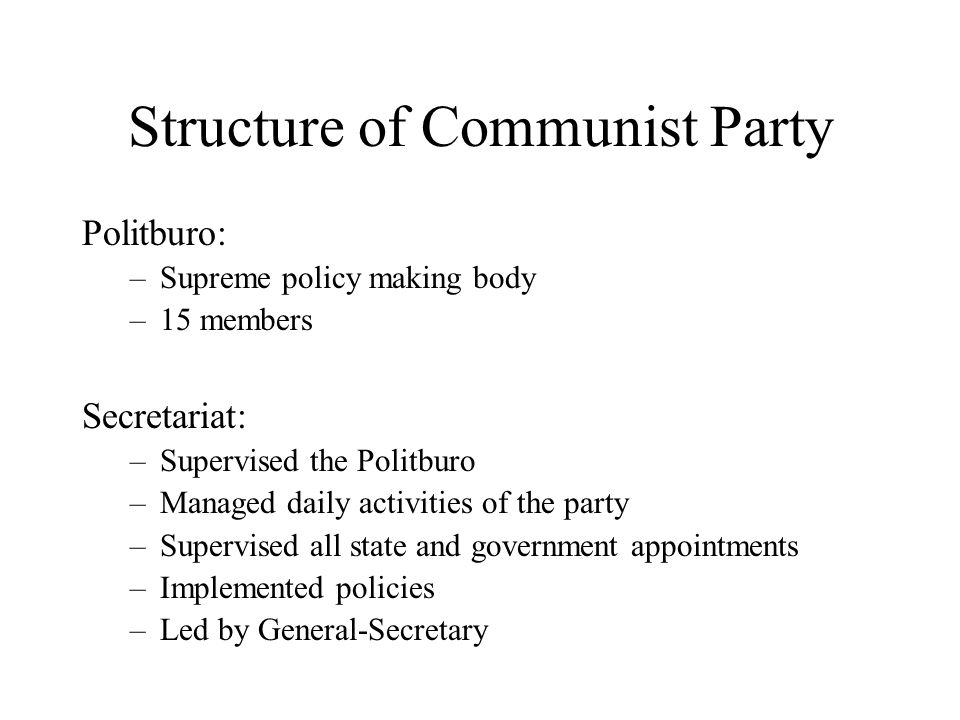 Structure of Communist Party