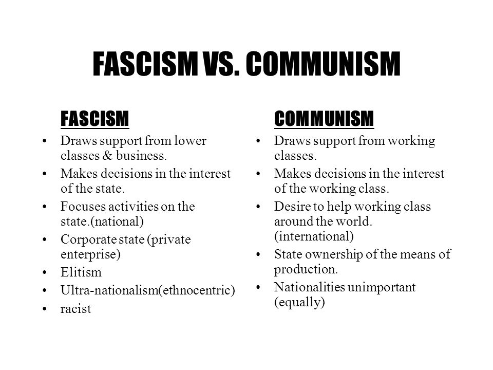 FASCISM VS. COMMUNISM FASCISM COMMUNISM