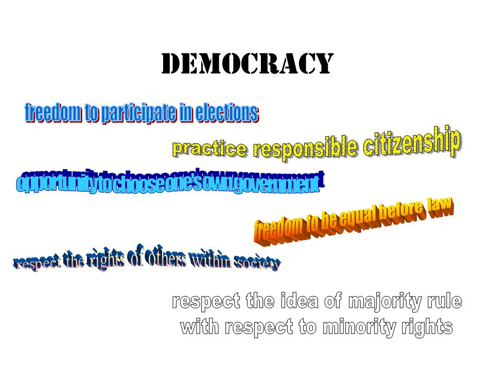 DEMOCRACY freedom to participate in elections