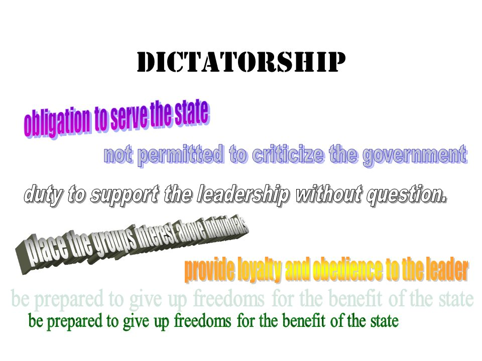 DICTATORSHIP obligation to serve the state