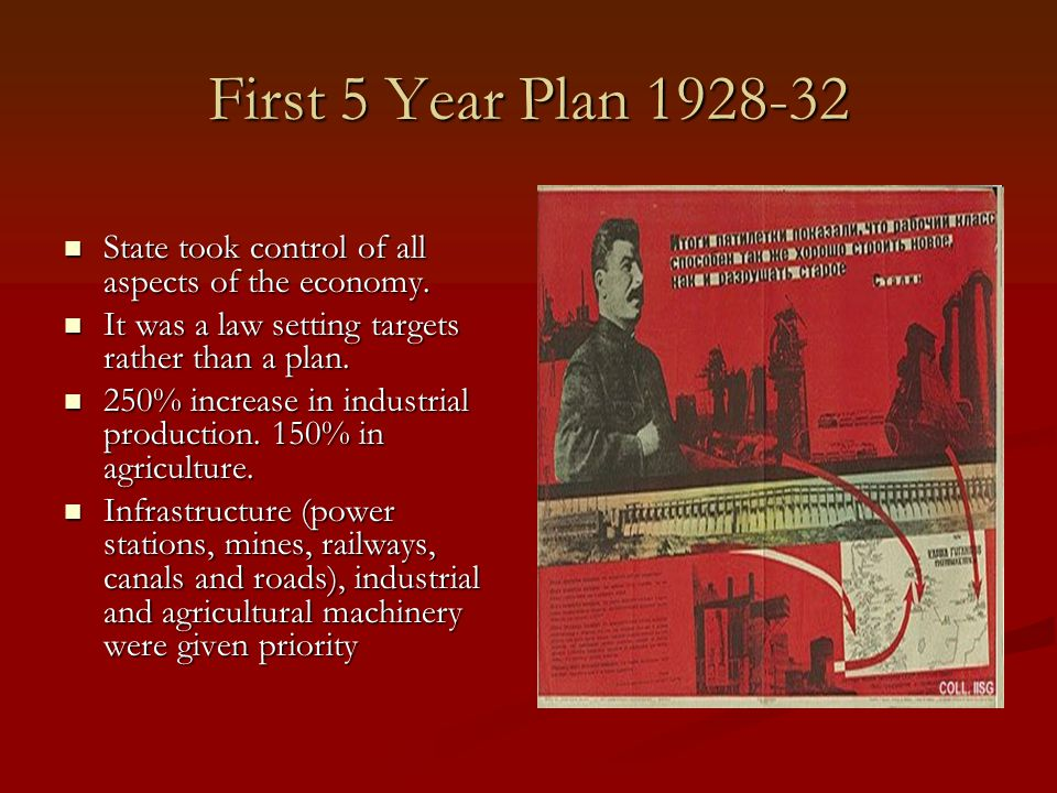 First 5 Year Plan 1928-32 State took control of all aspects of the economy. It was a law setting targets rather than a plan.