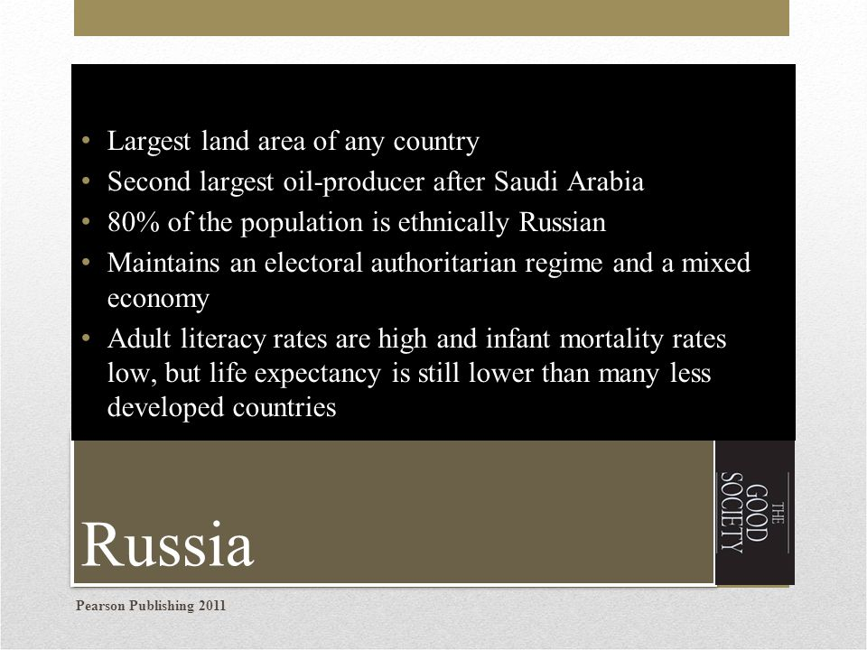 Russia Largest land area of any country