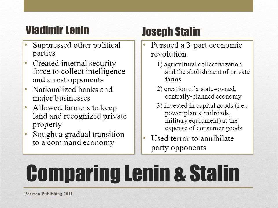 compare and contrast economic policies lenin and stalin Compare and contrast the ideologies and the political and economic practice of lenin and stalin every state is based  the policies of lenin and stalin essay.