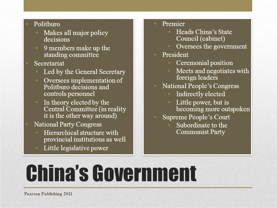 China's Government Politburo Premier Makes all major policy decisions