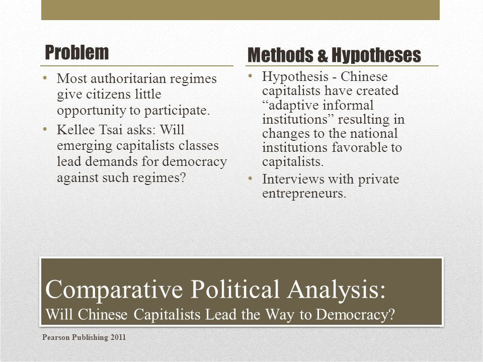 Problem Methods & Hypotheses. Most authoritarian regimes give citizens little opportunity to participate.