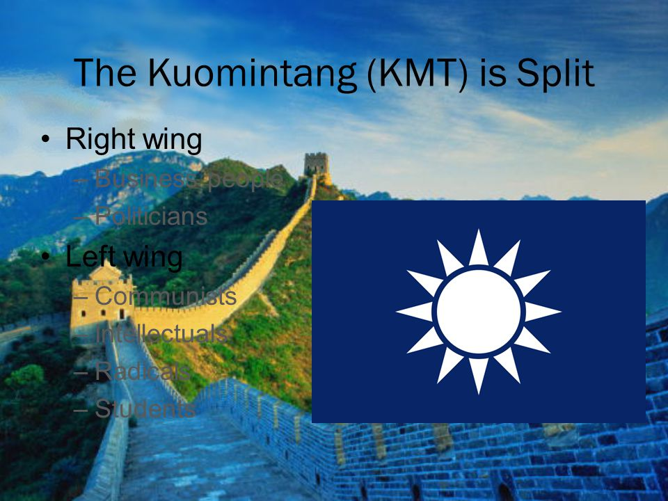The Kuomintang (KMT) is Split