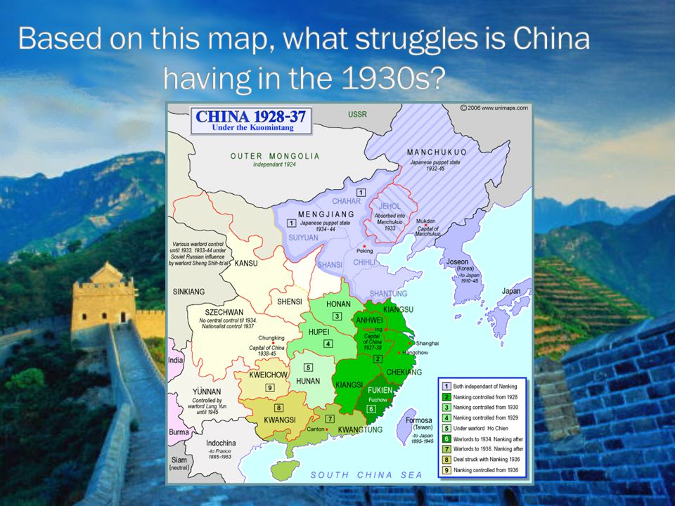 Based on this map, what struggles is China having in the 1930s