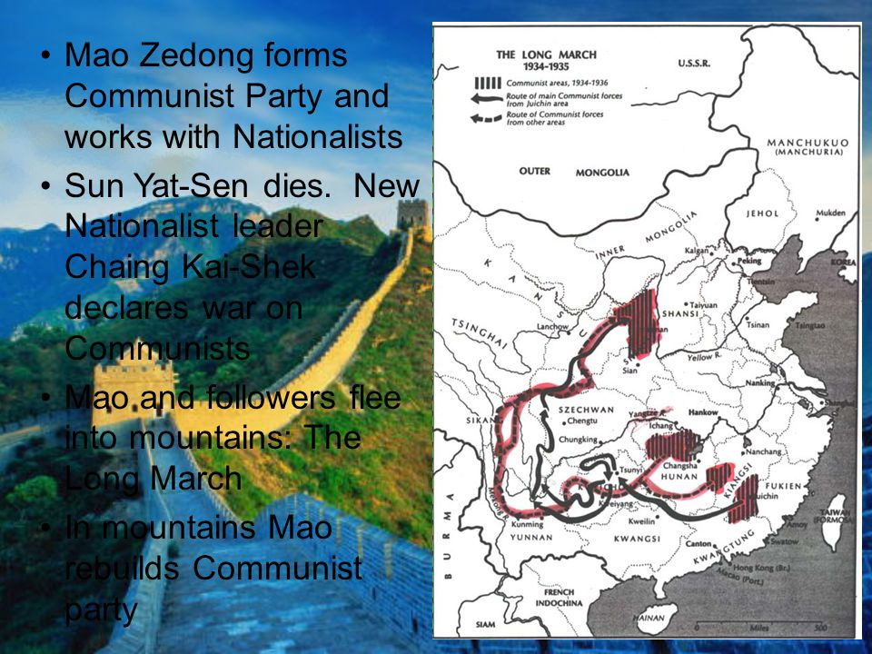 Mao Zedong forms Communist Party and works with Nationalists