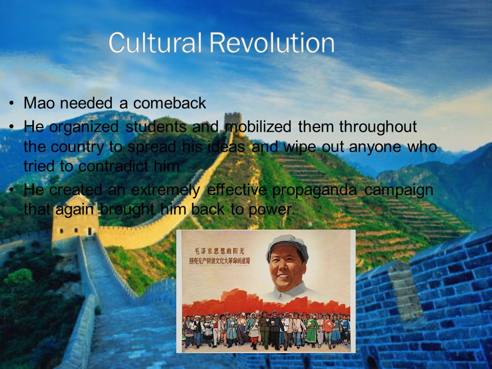Cultural Revolution Mao needed a comeback