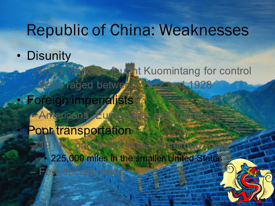 Republic of China: Weaknesses
