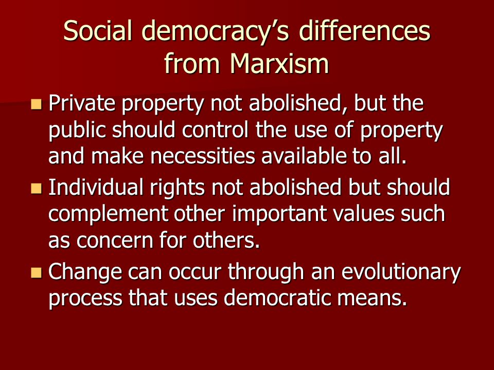 Social democracy's differences from Marxism