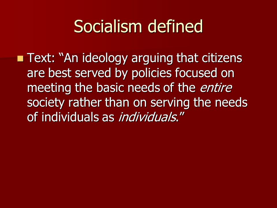 Socialism defined