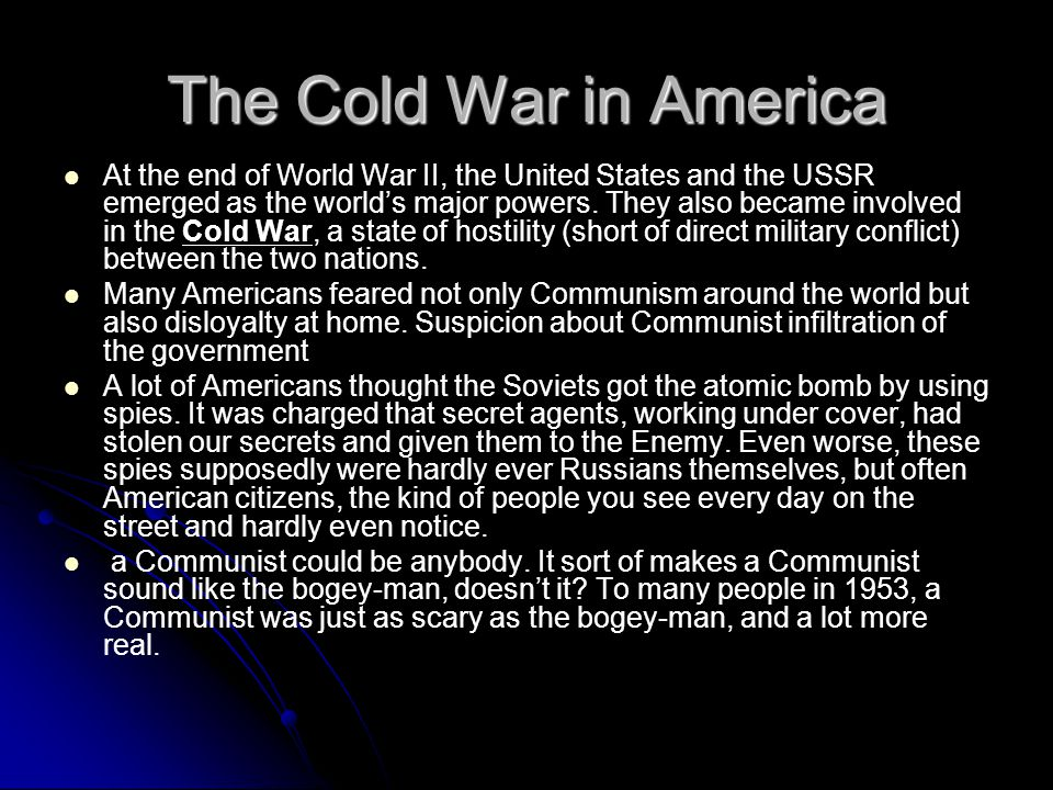 The Cold War in America