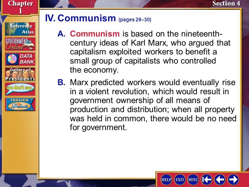 IV. Communism (pages 29–30)