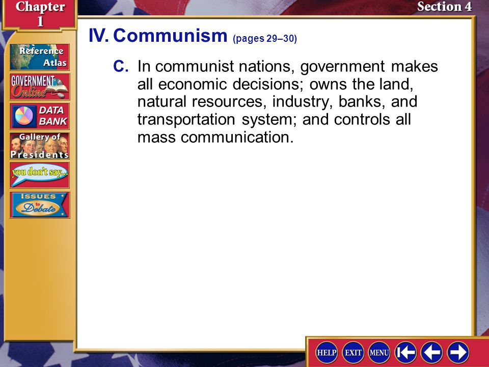 IV. Communism (pages 29–30)