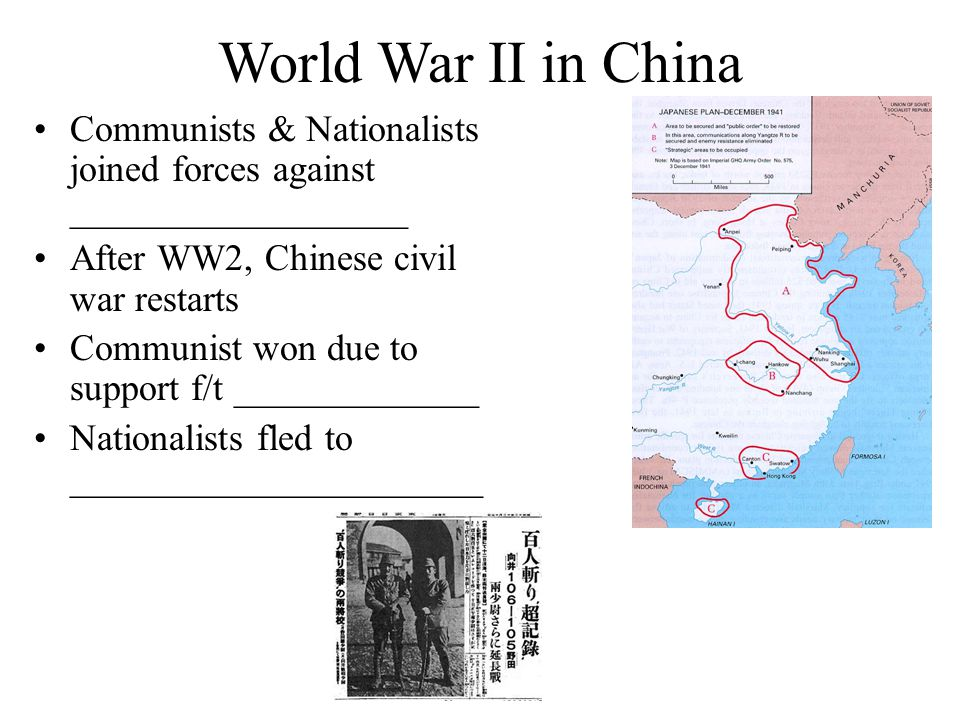 World War II in China Communists & Nationalists joined forces against __________________. After WW2, Chinese civil war restarts.