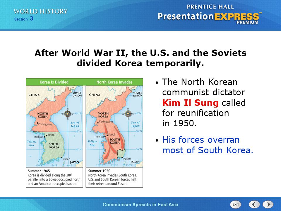 After World War II, the U.S. and the Soviets divided Korea temporarily.