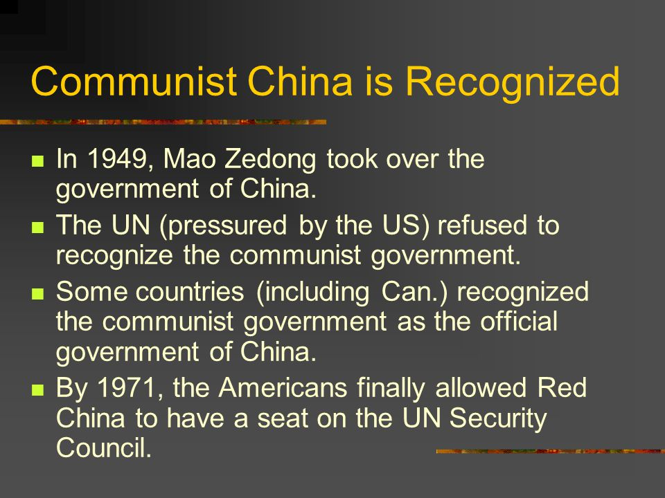 Communist China is Recognized