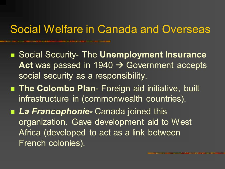 Social Welfare in Canada and Overseas