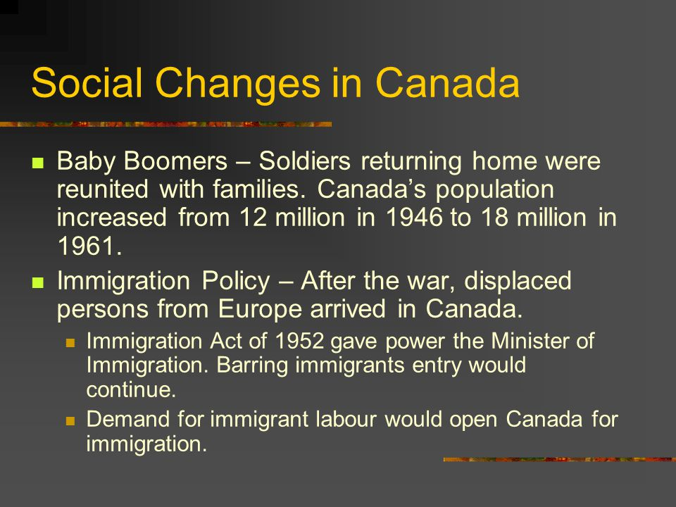 Social Changes in Canada