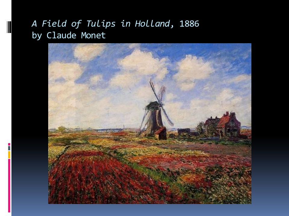 A Field of Tulips in Holland, 1886 by Claude Monet