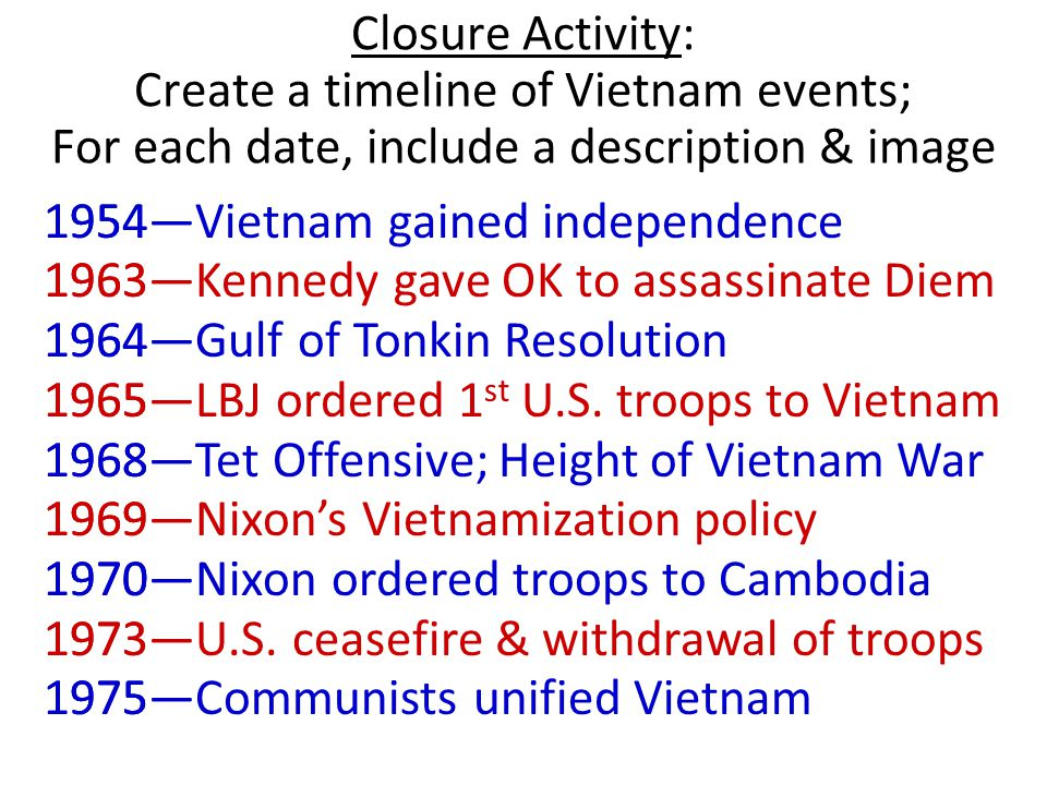 Closure Activity: Create a timeline of Vietnam events; For each date, include a description & image