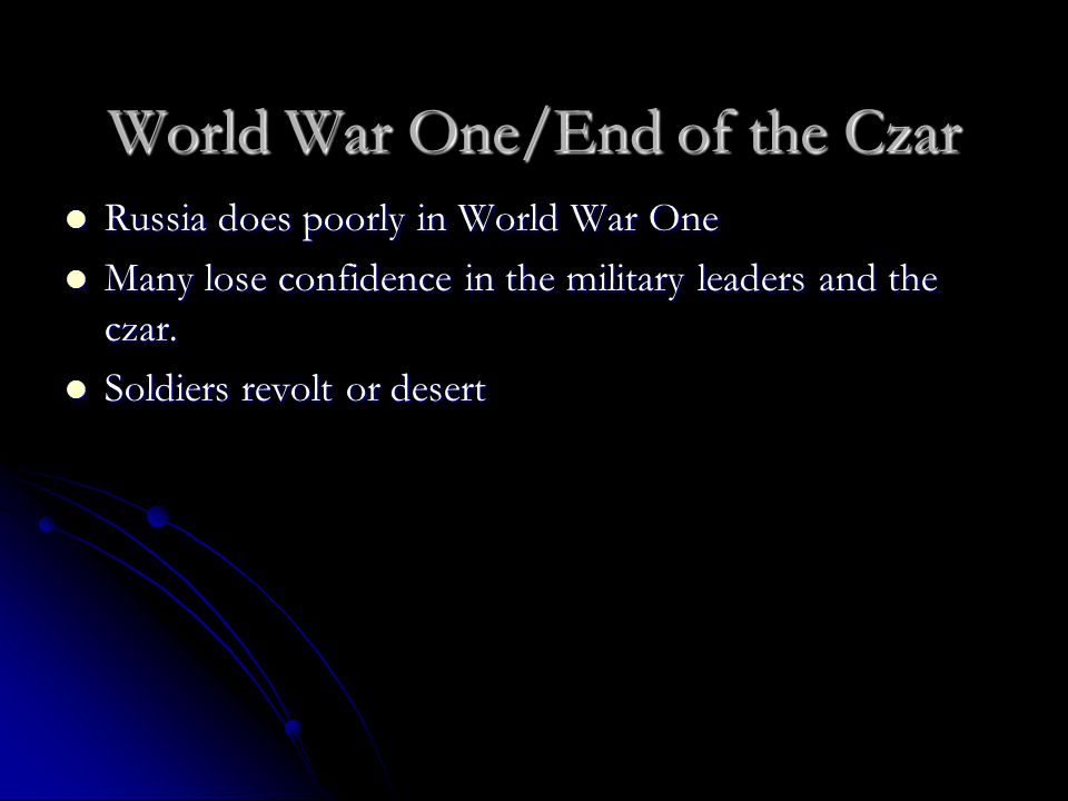 World War One/End of the Czar