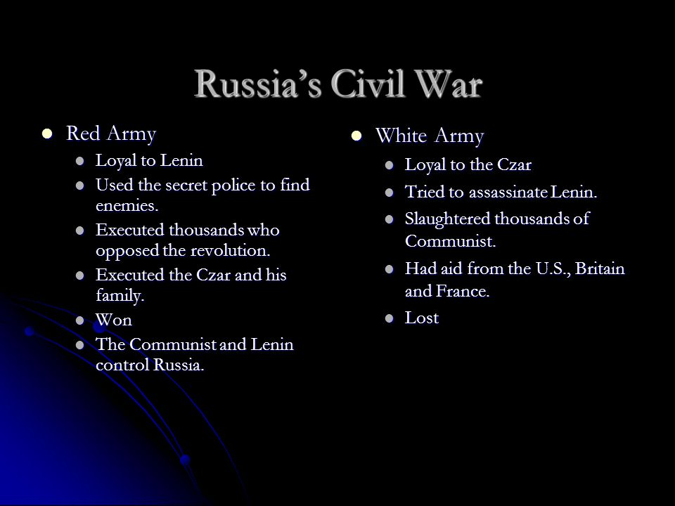 Russia's Civil War Red Army White Army Loyal to Lenin