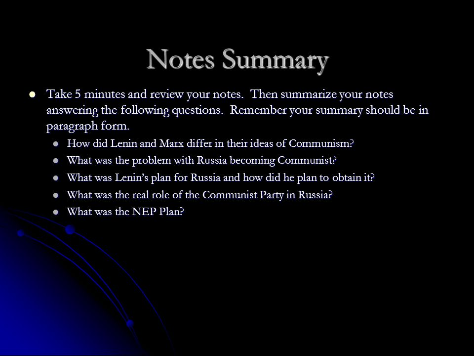 Notes Summary
