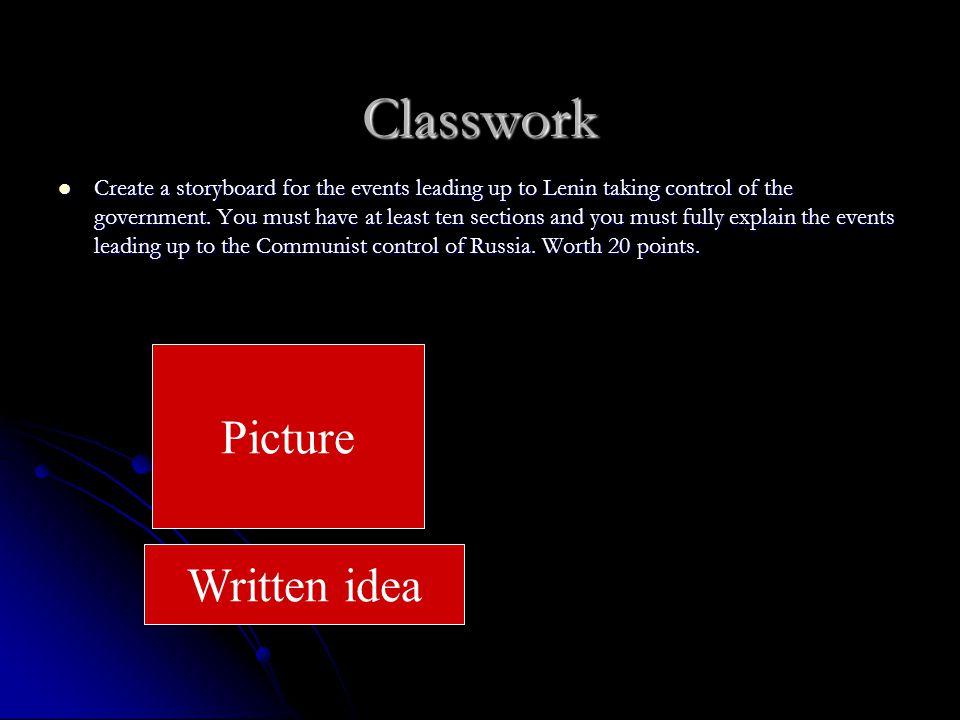 Classwork Picture Written idea
