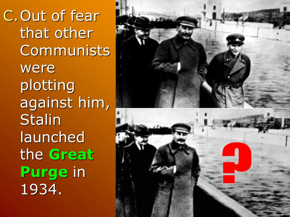 Out of fear that other Communists were plotting against him, Stalin launched the Great Purge in 1934.